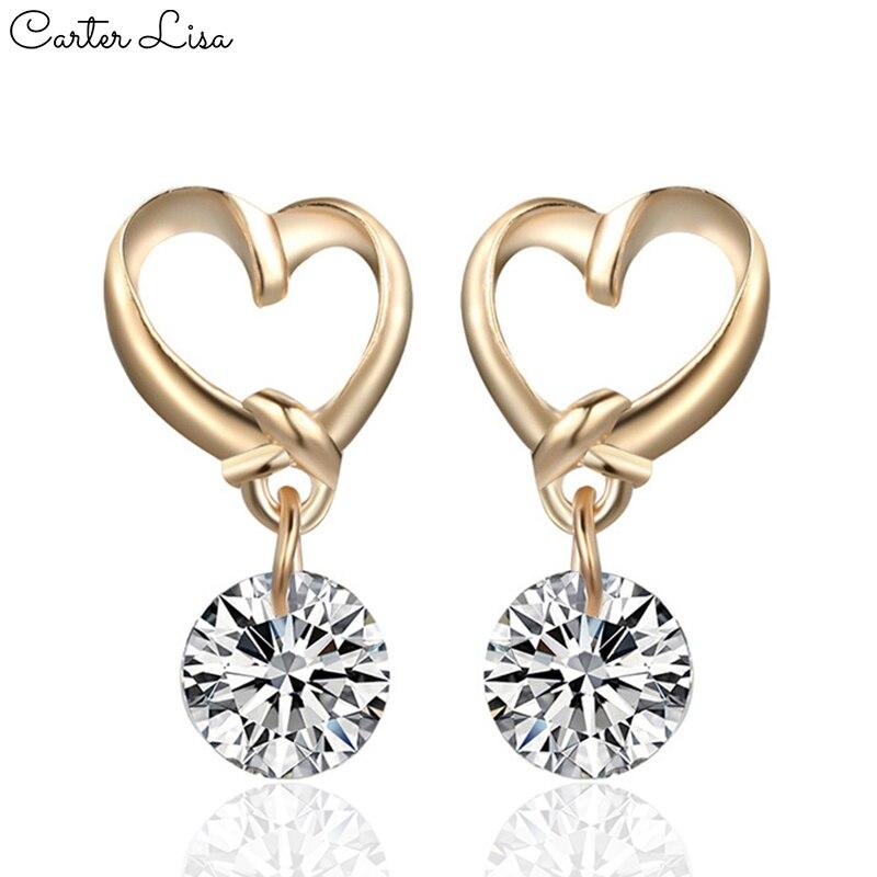 CARTER LISA 2019 New Fashion Statement Heart Dangle Earrings Elegant Crystal Drop Earrings For Women Wedding Charm Ear Jewelry