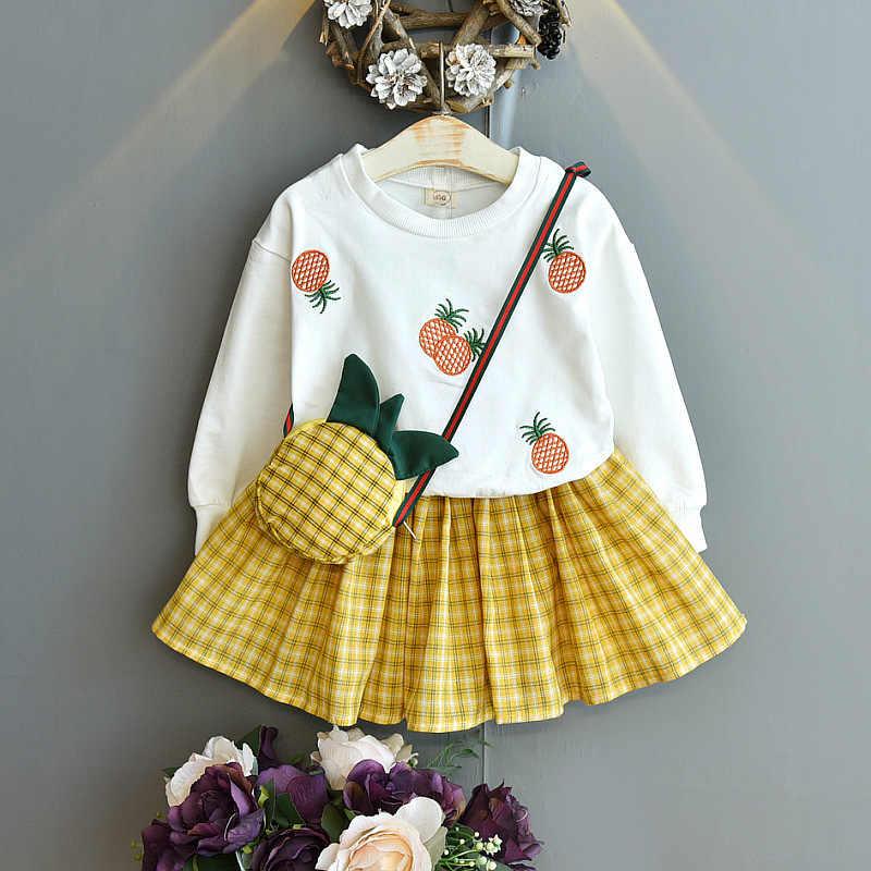 Baby Girls Denim Dresse Floral Skirt Long Sleeves Belted Fashion Spirng Clothes
