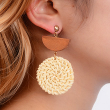 Hello Miss Exaggerated geometric rattan woven earrings fashion boho wooden pendant new womens