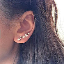 Fashion Five Star Stud Earrings for Women Girl Metal Jewelry Gift