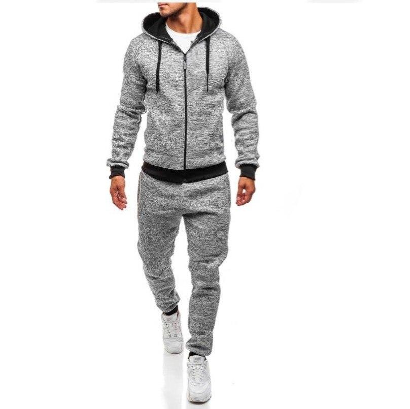 Men's Leisure Motion Suit Cation Cardigan Even Cap Pants Sweater 2pcs Sets Soild Color Casual Fitness Clothes Warm Male Suits