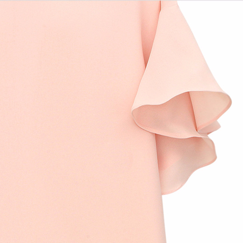 Womens Navy Chiffon Shirts Ruffles Sleeve 2018 Summer Fashion Chiffon Blouse Solid White Black Female Elegant Tops Plus Size 5XL in Blouses amp Shirts from Women 39 s Clothing