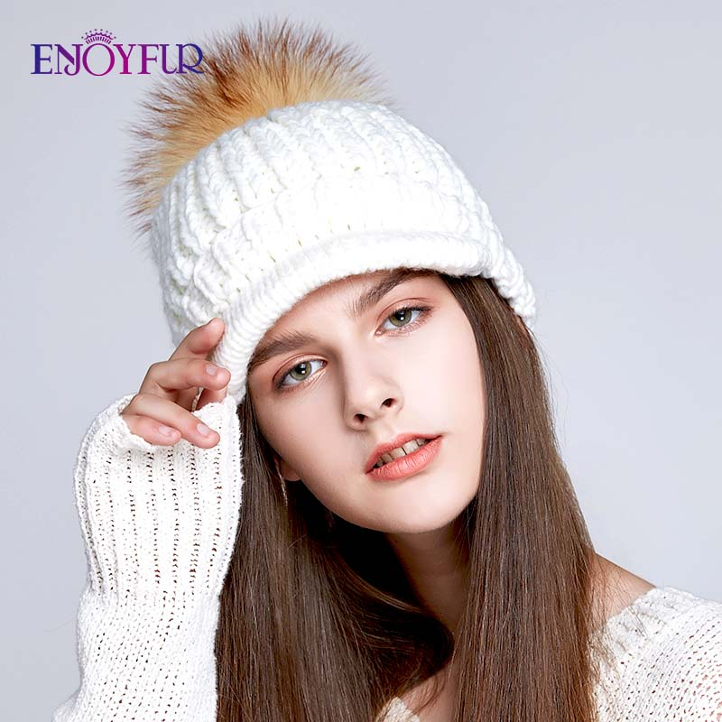 ENJOYFUR Handmade Warm Women Winter Hats Fashion Real Racoon Fur Pompom Hat With Brim Girls Thick Beanies