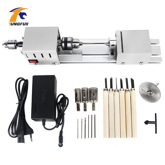 12 24V Mini Lathe Machine Tools Lathe Standard Set DIY Woodworking Buddha Pearl Grinding Polishing Mini Beads Machine