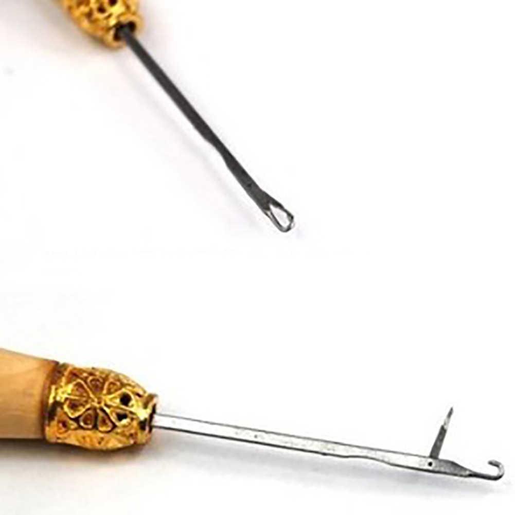 الخشب مقبض الكروشيه إبرة شعر مستعار تمديد خيوط سحب الحياكة الإبر نسج أدوات خياطة