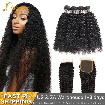 Joedir Kinky Curly Bundles With Closure Curly Brazilian Hair Weave Bundles With Closure Human Hair With Closure Hair Extension