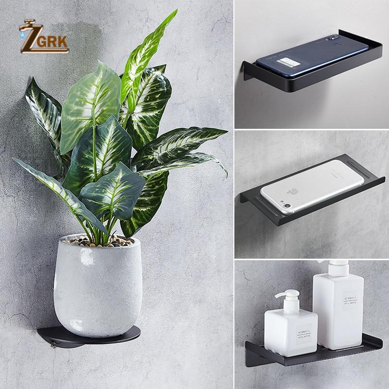 ZGRK Bathroom Accessories Stainless Steel Phone Holder Bath Rack Modern Bathroom Ornament Shelves Kitchen Wall Shelf