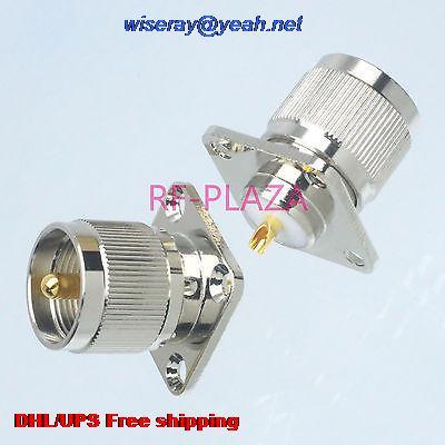 DHL/EMS 100pcs Connector UHF PL259 PL-259 Male Plug 4-holes Flange Solder Cup Panel Mount -A3
