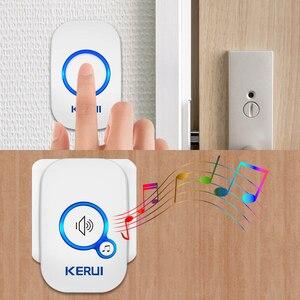Image 4 - Kerui sem fio inteligente campainha alarme de segurança em casa bem vindo campainha led luz 32 músicas com botão à prova dwaterproof água fácil instalação