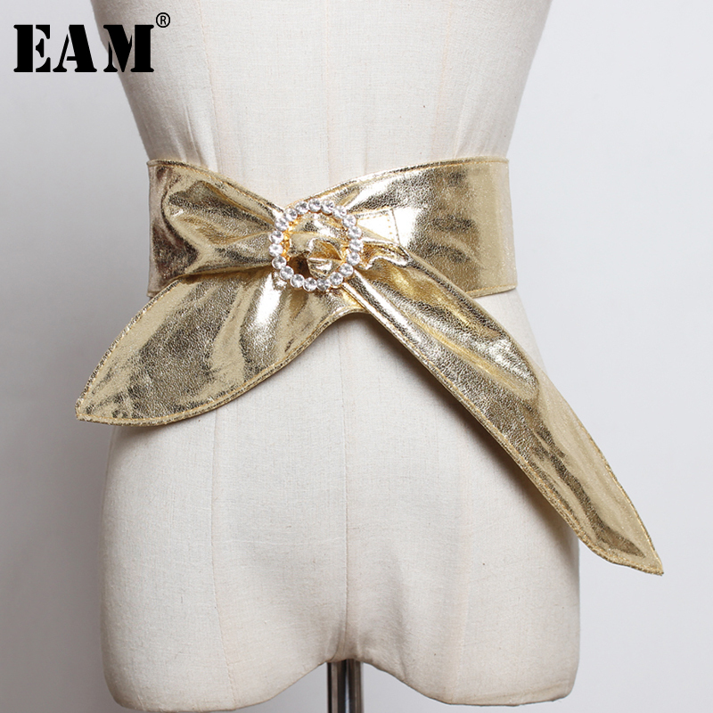 [EAM]  Pu Leather Multicolor Bandage Bow Split Long Wide Belt Personality Women New Fashion Tide All-match Spring 2020 1N452