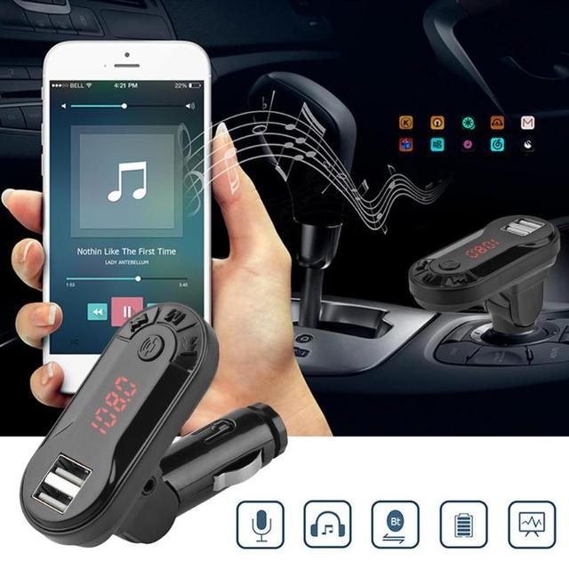 I9 Bluetooth Car Kit FM Transmitter TF Card U Disk Handsfree Wireless Car Kit MP3 Music Player USB Charger Support  New 1