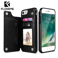 FLOVEME Retro Leather Case For iPhone XR X XS Max 7 8 6 Plus Multi Wallet Holder Phone Back Cover Funda
