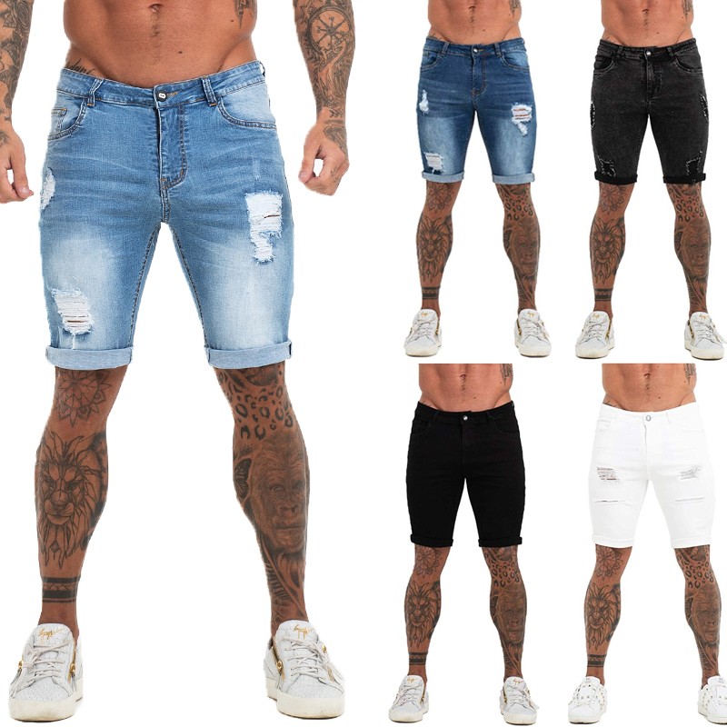 Mens Shorts Fitness Denim Shorts Black High Waist Ripped Summer Jeans Shorts For Men Brand Plus Size Casual Streetwear Dk03