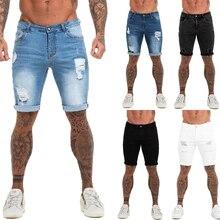 Denim Shorts Summer Jeans Streetwear Ripped Dk03 Mens Black High-Waist Plus-Size Casual