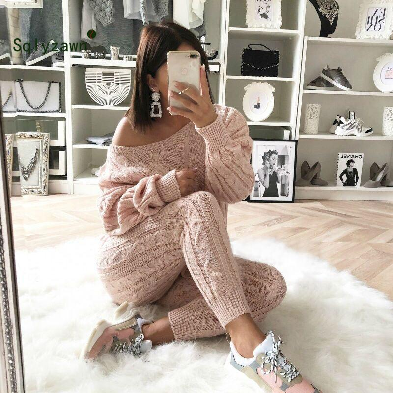 Autumn Winter Women Warm Knitted Two Piece Set Sweater Tops Pants Thick Wool Knit One Shoulder Long Sleeve Casual Suit Plus Size