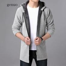 Sweater Men Clothes 2020 Autumn Winter Thick Warm Long Cardigan Men With Hood Sweater Coat  Cotton Liner Zipper Plus Size Coats