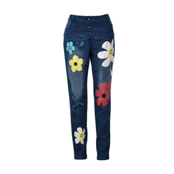 Hot Sale Button Pocket Womens Jeans Printed Slim Denim Trousers Retro Cross Border Exclusive Elasticity Breathable High Fashion