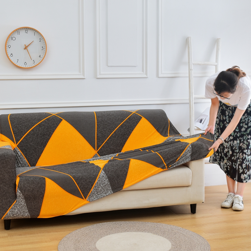 Printed and All Wrapped Sofa Covers with Elastic and Straps for Corner and Sectional Sofa in Home and Office 3