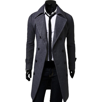 New Casual Solid Color Long Sleeve Man Trench Coat Fashion Winter Buttons Pockets Long Coats Male Double-breasted Slim Warm Coat