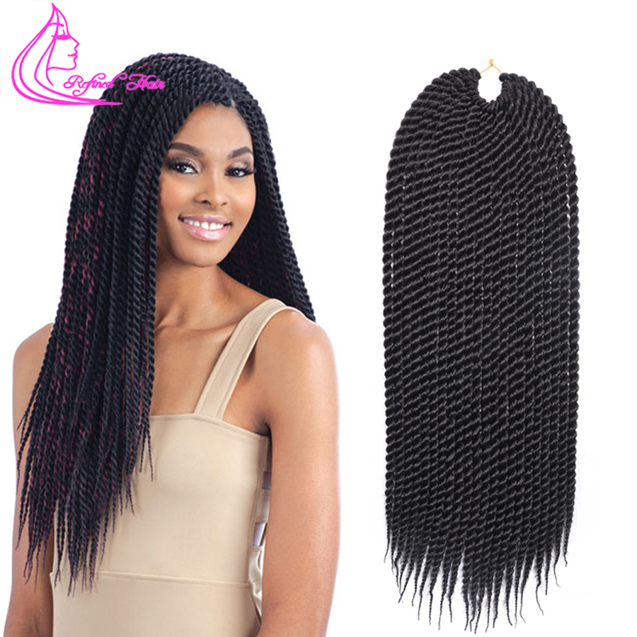 Refined 22Roots/pack Medium Diameter Crochet Braids Senegalese Twist Hair Extensions Ombre Brown Grey Burgundy Synthetic Braid