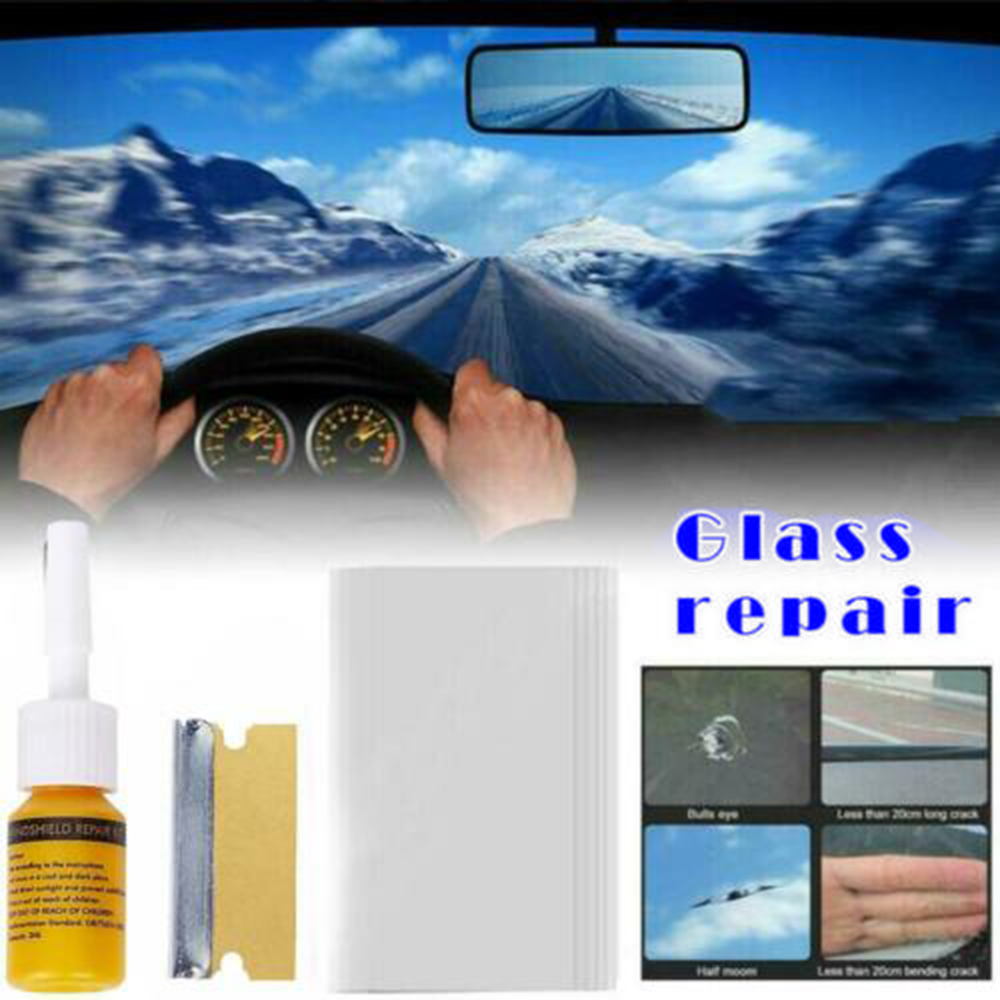Glass Repair Fluid Kit Set Replacement Parts Accessories Car Auto Window Repair Fluid With Curing Strip Shaver Cleaning Tools