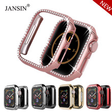 Diamentowa skrzynka dla apple watch Series 4 od 5 do 40mm/44mm iWatch ekran ochronny pokrywa PC obudowa zegarka dla apple watch case 38mm/42mm(China)