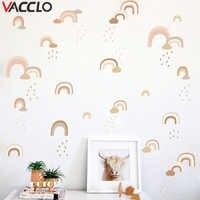 Vacclo Watercolor DIY Rainbow Rain Wall Sticker Living Room Bedroom Children Room Background Wall Self-adhesive Paper Wallpaper