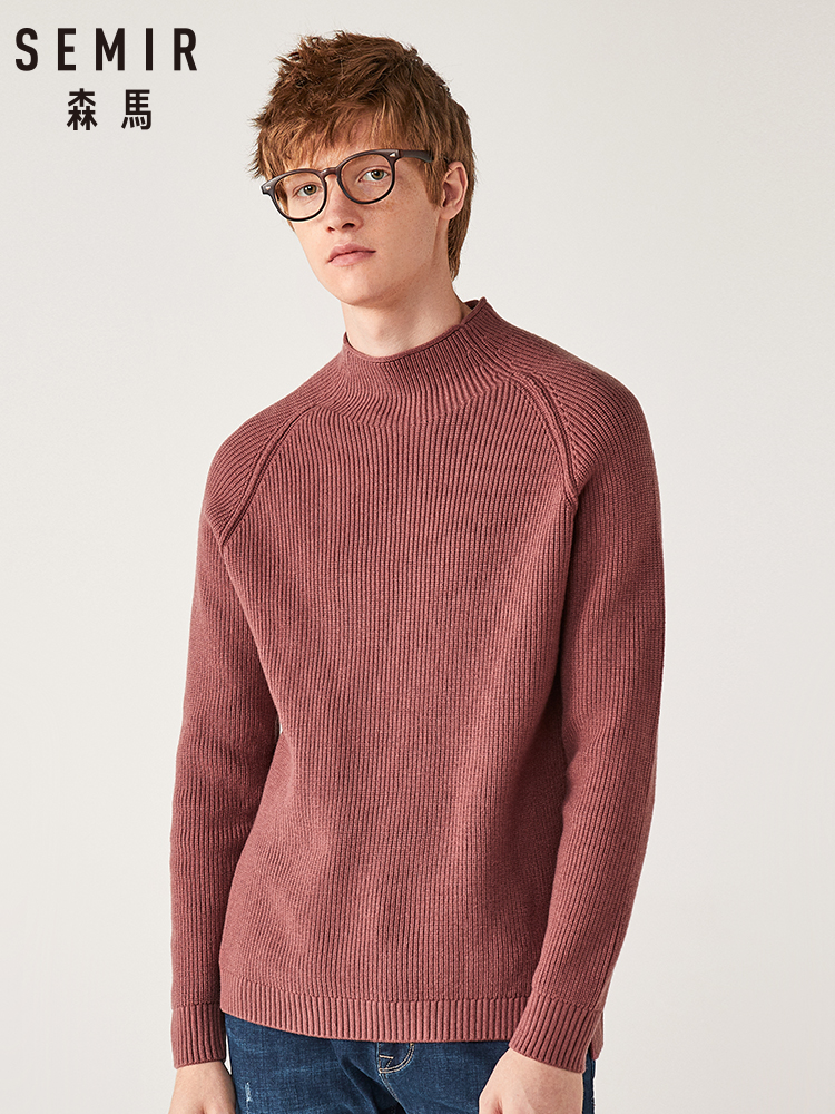 Semir Pullover Sweater Male Loose Winter Loose Sweater 2019 Warm Half-high Collar Split Knit Sweater Solid Color Shirt Men