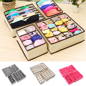 4pcs Underwear Storage Boxes Socks Divider Drawer Lidded Closet Underwear Organizer Drawer By For Underwear Bras Socks Ties