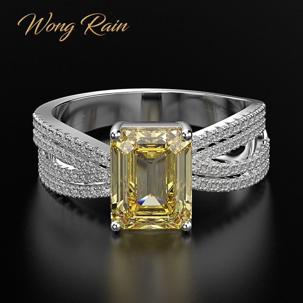 Wong Rain Top Quality Luxury 100% 925 Sterling Silver Citrine Diamonds Gemstone Wedding Engagement Ring Fine Jewelry Wholesale