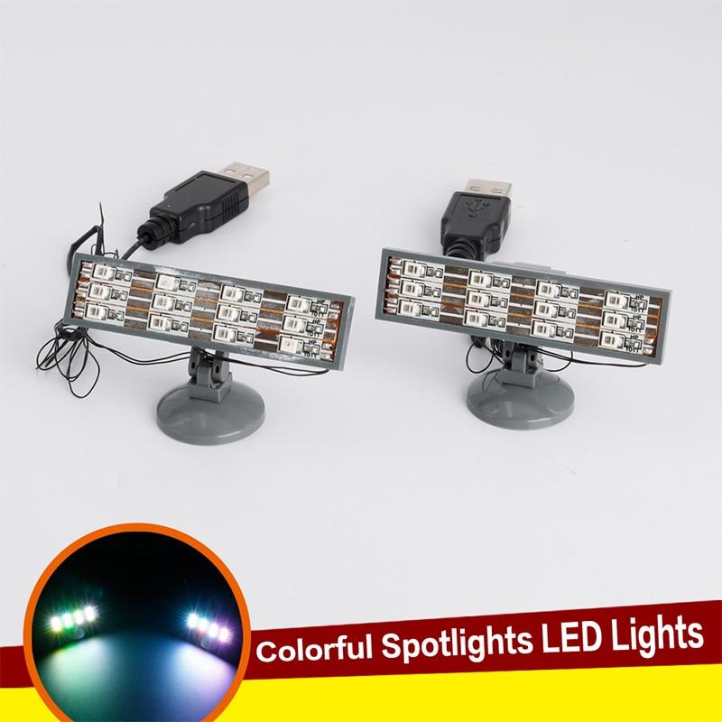 2pcs LED Colorful Searchlight Spotlight USB Street City Series Bricks Light Building blocks Compatible with lego Block
