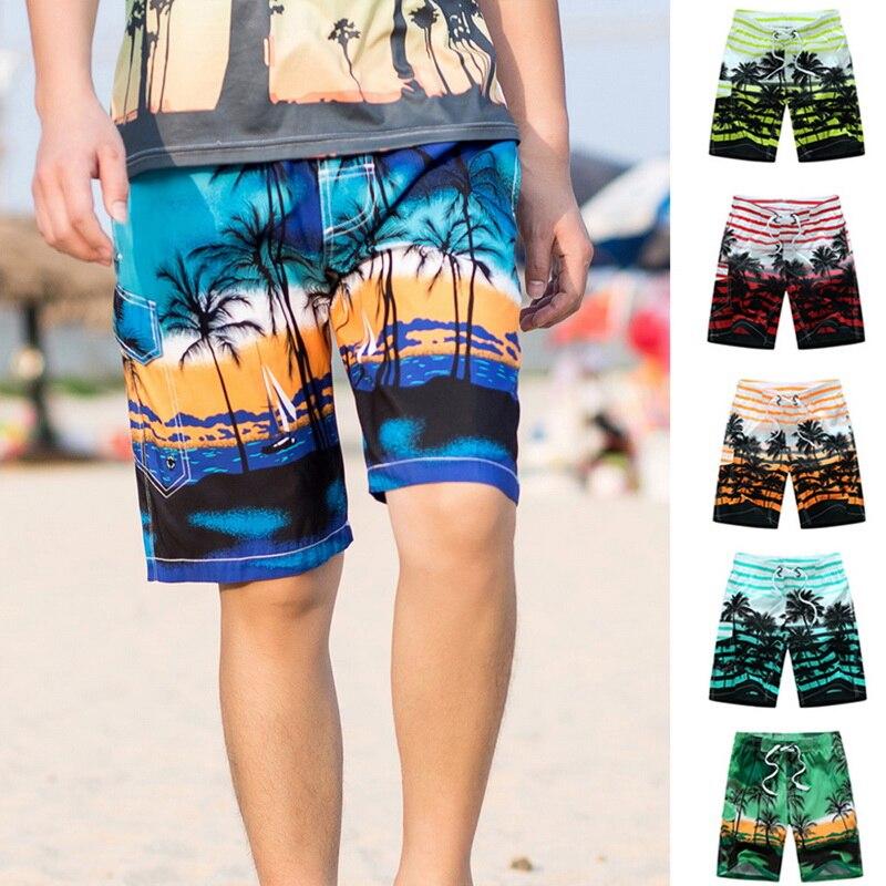 Hawaiian Shirt Beach Shorts Tree Print Beachwear Men Shorts 2018 Casual Elastic Waist Fashion 6 Color Plus Size M-6XL