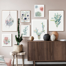 Watercolor Flower Cactus Leaves Wall Art Canvas Painting Nordic Posters And Prints Plants Pictures For Living Room Decor