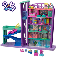 Polly Pocket Mini Dolls Toys Big World Building Shopping Mall Accessories Mega Mall GFP89 Collection Kid Toys With Lift Funny