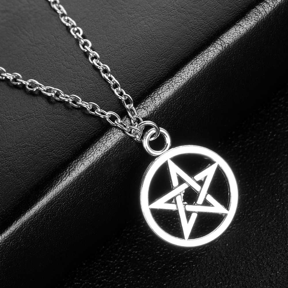 1Pc New Fashion Unisex Black Butler Necklace Pentacle Pentagram Pendant Lucifer Satan Logo Sign Silver Supernatural Jewelry Gift