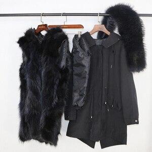 Image 5 - OFTBUY 2020 wodoodporna odzież wierzchnia prawdziwe futro długa kurtka zimowa Parka kobiety naturalne futro lisa kaptur Streetwear odpinany marka
