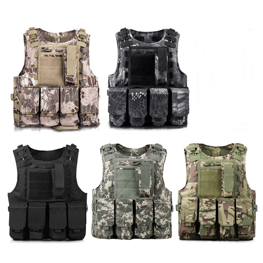 Military Hunting Tactical Vest Body Armor Adult CS Outdoor Protective Equipment Molle Waistcoat Combat Carrier Camouflage