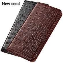 Crocodile pattern genuine leathter phone case for Google Pixel 2 XL case for Google Pixel 2 flip case card holder funda coque(China)