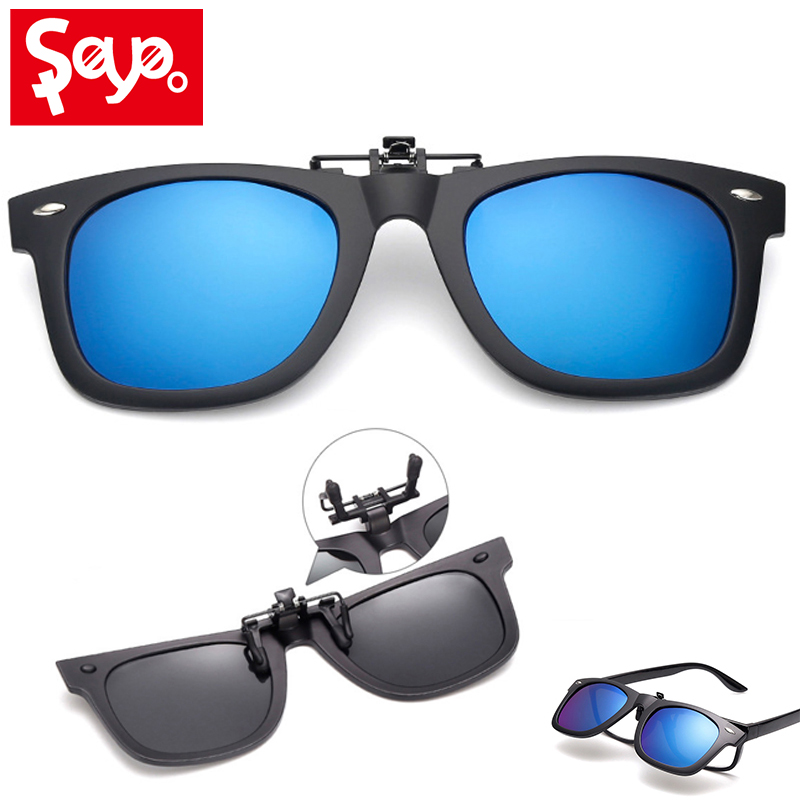 SAYLAYO Square Polarized Sunglasses Clip On Myopia Glasses For Fishing Driving Traveling Easy Flip Up Lens UV400 Protection