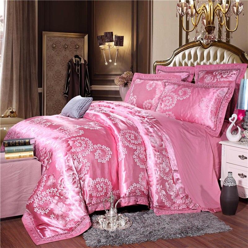 60s Tencel Satin Four-piece Jacquard Beddings 2019 New Style AB Version Of 100% Cotton Four-piece Suit Bedding Article Brocade J