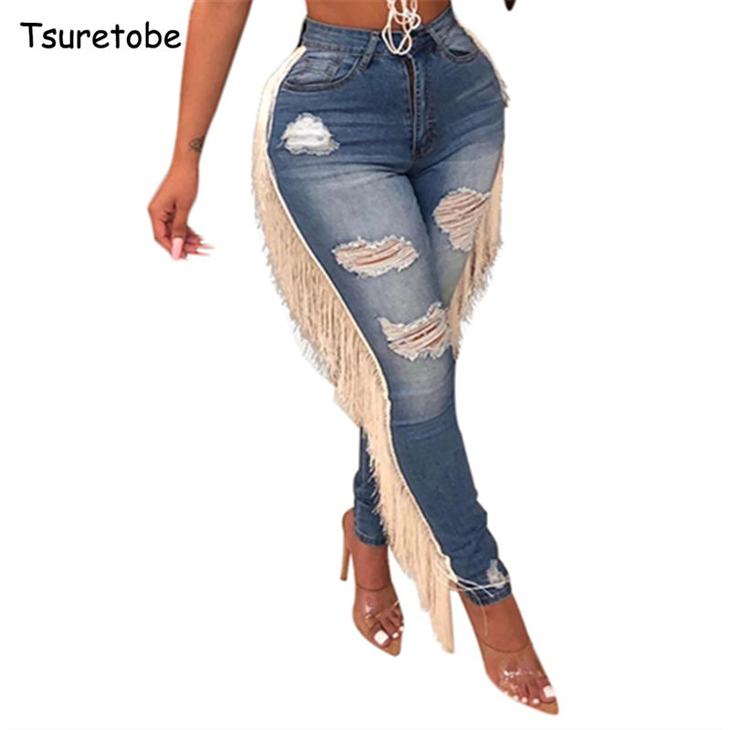Tsuretobe Plus Size Skinny Hole Ripped Jeans Women Fashion High Waist Denim Pencil Pants Ladies Side Tassel Jeans Mujer Trousers