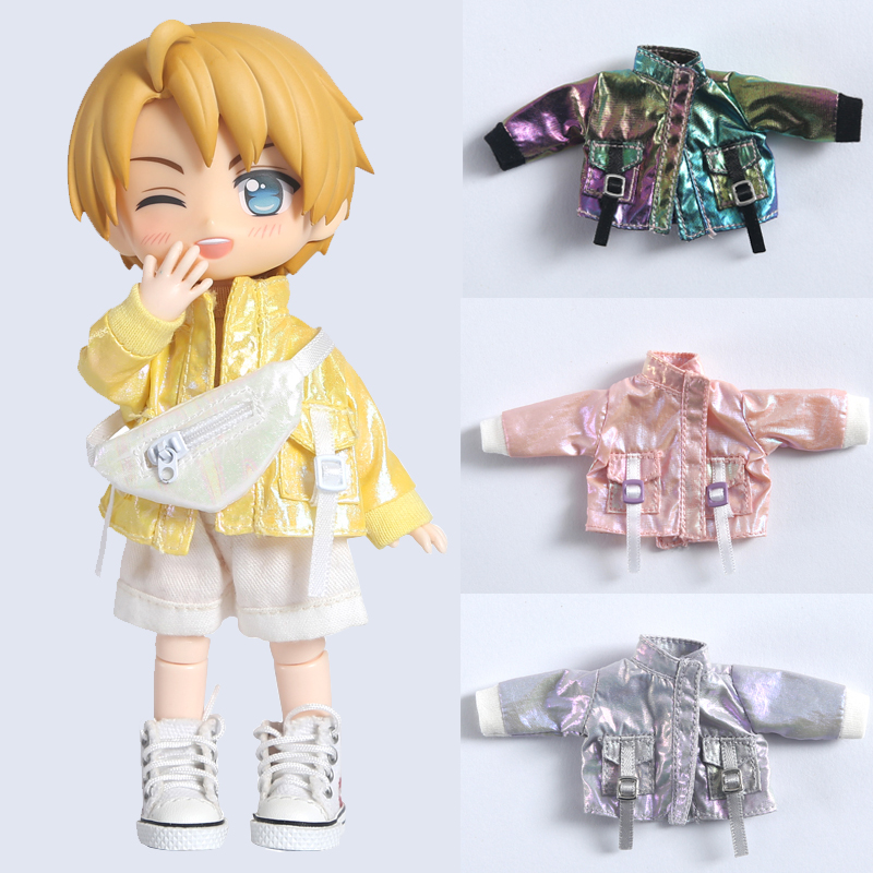 New ob11 baby clothes 1 / 12bjd clothes cool bright flash pocket jacket Molly doll clothes GSC P9 jacket jacket doll accessories