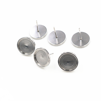 ( No Fade ) 12mm 10pcs/Lot Thicken  Stainless Steel Earring Studs,Earrings Blank/Base,Fit 12mm Glass Cabochons-X5-32