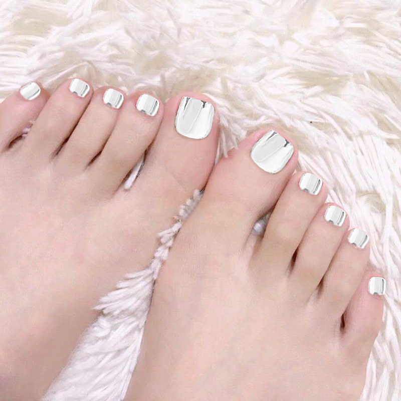 Summer New Style Wear Nail Tips Toenail Patch Fake Nails Finished Product Silver Metal Toenails Stickers