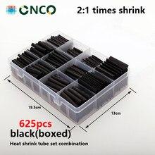 625 stücke Schwarz boxed schrumpf rohr Thermoresistant rohr, gaine thermorétractable schrumpfen rohr kabel rohr termoretractil