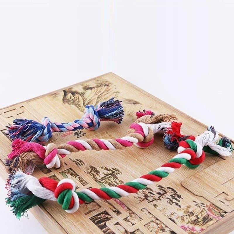 カラフルなダブルノットのおもちゃ小大犬猫犬 Trainging 耐久性咀嚼のおもちゃ子犬編組綿ロープ臼歯ペット用品