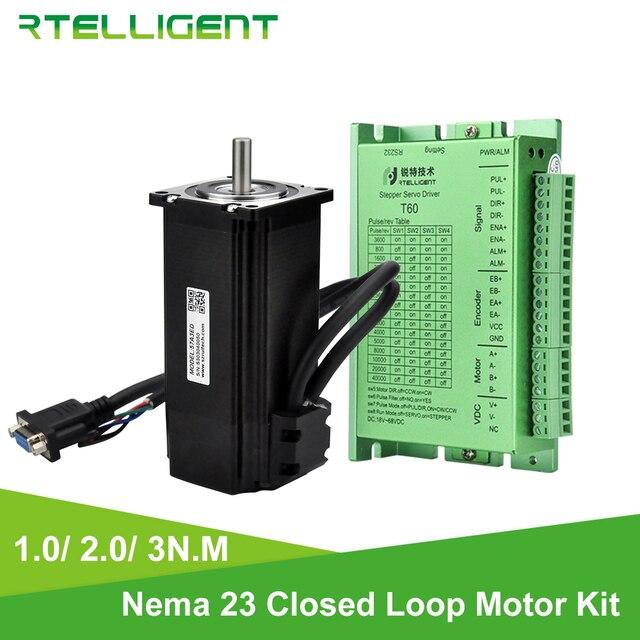 Rtelligent Nema 23 2N.M y 3N.M Motor de pasos de bucle cerrado con Kit de controlador de pasos Nema23 de Servo Motor paso a paso fácil con codificador