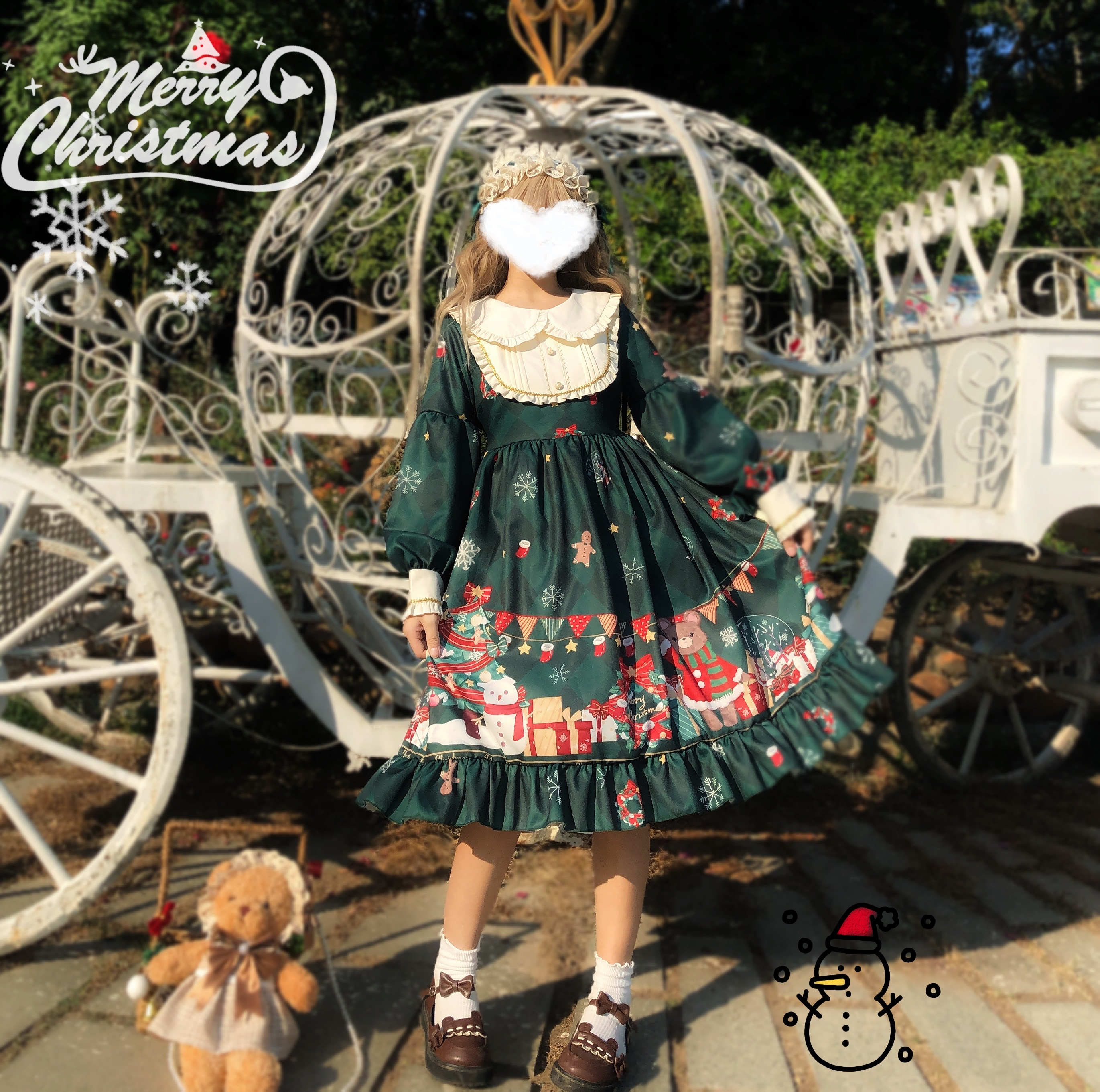 Palace Vintage Sweet Kawaii Lolita Dress Christmas Bear Dress Op Long Sleeve Dress Matte Autumn Winter Gothic Lolita Loli Cos