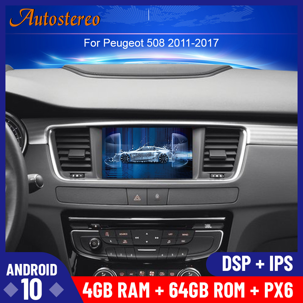 Newest Android <font><b>10</b></font> Car DVD player GPS navigation radio Stereo For PEUGEOT 508 2011 2012 2013-2017 head UNIT auto radio multimedia image