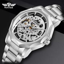 Zwycięzca zegarek męski szkielet automatyczny zegarek mechaniczny fajny w kształcie szkieletu Vintage Man zegarek męski zegarek w stylu punk Top marka ekskluzywny zegarek tanie tanio T-WINNER Bransoletka zapięcie Nie wodoodporne Ze stali nierdzewnej Automatyczne self-wiatr 22cm Moda casual Okrągły